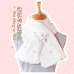 Pre-Order ผ้าพันคอขนนุ่มนิ่ม แต่งเม็ดกลมและตุ๊กตากระต่าย