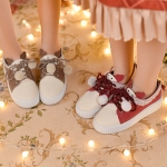 Pre-Order รองเท้าหนังเทียมกวางกระต่ายขลิบลูกไม้ มี2สี