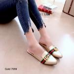 รองเท้าส้นเตี้ยหัวแหลม เปิดส้น (สีทอง)