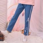 Pre-Order กางเกงยีนส์เอวยางยืดบุกำมะหยี่ด้านใน ลายแมวและดาว