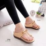 รองเท้าแตะส้นเตารีด แบบคีบ แต่งดอกไม้ (สีทอง )