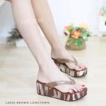 รองเท้าแตะ ส้นเตารีด แบบคีบ ส้นลายหนังจระเข้ (สีน้ำตาล )