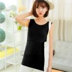 เสื้อกล้ามเปิดให้นมได้ แบบเรียบ ผ้าเนื้อนิ่ม ยืดหยุ่นดี สีดำ มีไซส์ L , XL