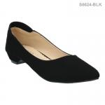 รองเท้าคัทชู ส้นเตี้ย หัวแหลม สไตล์เกาหลี (สีดำ )