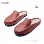รองเท้าส้นแบน สไตล์สวมหัว เปิดส้น สไตล์เกาหลี (สีส้ม )
