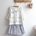 Pre-Order เสื้อยืดคอกลมแขนลำโพง พิมพ์ลายเสื้อคอปก มี4สี