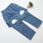 Pre-Order กางเกงยีนส์ขายาว เอวยางยืด ปักลายเมฆฝน