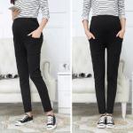 กางเกงคนท้อง ขายาว ใส่ทำงาน มีกระเป๋าหน้า-หลัง สีดำ มีสายปรับระดับ มีไซส์ L , XL