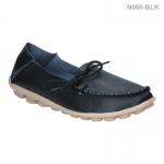 รองเท้าส้นแบน หุ้มส้น หนังเย็บ แต่งเชือก (สีดำ )