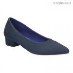 รองเท้าคัทชู ส้นเตี้ย หัวแหลม สไตล์ยุโรป (สีฟ้า )