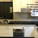 Classic Glossy White Kitchen (บิวท์ทับโครงปูนหน้าบานสีขาวเงา)