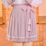 Pre-Order กระโปรงพลีตสั้นสีชมพู มีผ้าคาดเอวแต่งเชือกพู่