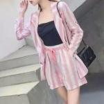 PS0018 เสื้อผ้าแฟชั่น เสื้อผ้าเกาหลี ชุดเซ็ทเกาหลี ชุดเซ็ต ชุดไปเที่ยว ชุดออกงาน ชุดทำงาน (สีชมพู)