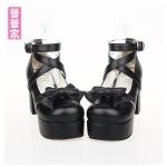 Pre-Order รองเท้าส้นสูงผูกโบว์และสายไขว้ถึงข้อเท้า สีดำ