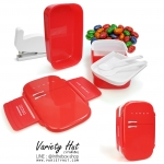 กล่องข้าวรูปตู้เย็น กล่องข้าวอุ่นไมโครเวฟได้ มี 3 ชั้นพร้อมช้อน-ส้อมในกล่อง