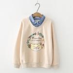 Pre-Order เสื้อกันหนาวคอปกตัดต่อผ้า ลายแมวและดอกไม้