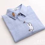 Pre-Order เสื้อเชิ้ตแขนยาว ปักลายแครอทและกระต่าย