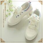 Pre-Order รองเท้าผ้าใบสีขาว แต่งขอบด้วยลายริ้วสี มี2ลาย