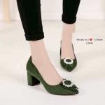 รองเท้าคัทชูส้นตัน หัวแหลม(สีเขียว)