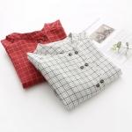 Pre-Order เสื้อเชิ้ตคอจีนลายตาราง กระดุมหน้าสองแถว มี2สี