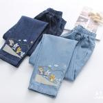 Pre-Order กางเกงยีนส์เอวยางยืด ปักลายก๊วนสัตว์น่ารัก มี2สี