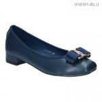 รองเท้าคัทชู ส้นเตี้ย หัวตัด แต่งโบว์ (สีฟ้า )