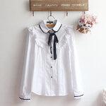 Pre-Order เสื้อเชิ้ตแต่งระบาย ผูกริบบิ้นผ้า สไตล์วินเทจ