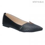 รองเท้าคัทชู ส้นแบน หัวแหลม ลายสาน (สีดำ )