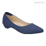 รองเท้าคัทชู ส้นเตี้ย หัวแหลม สไตล์เกาหลี (สีน้ำเงิน )