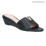 รองเท้าลำลอง ส้นเตารีด แบบสวม เปิดส้น (สีดำ )
