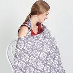 ผ้าคลุมให้นมลูก แบบมีโครงโค้ง สายคล้องคอปรับระดับได้ สีเทาลายดอกไม้