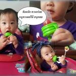 ที่ดูดผลไม้และอาหารเด็กสีเขียว