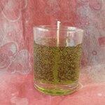 เทียนหอมน้ำเขียวในแก้วเป็ก ขนาด 3.5x3.5x4.5 cm.