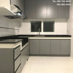 Matt Grey Modern Kitchen (ชุดครัวบิ้วทับโครงปูนสีเทาด้านสไตล์โมเดิร์น)