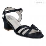 รองเท้าส้นเตี้ย รัดข้อเท้า ส้นบล็อค (สีดำ )