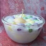 เทียนบัวลอยไข่หวานในถ้วยแก้วใส ขนาด 7.5x7.5x7 cm.