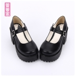 Pre-Order รองเท้าส้นสูงสีดำ สายคาดแต่งหูแมว