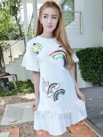 DS0023 เสื้อผ้าแฟชั่น เสื้อผ้าเกาหลีเดรส Dress ชุดเดรส เดรสสั้น เดรสเกาหลี เดรสทำงาน