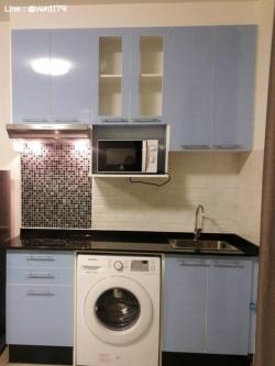 Tiny Blue Kitchen (ครัวบิ้วอินสีฟ้าสไตล์โมเดิร์น)