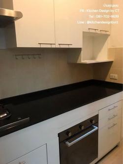 Super White Kitchen (บิ้วทับโครงปูนหน้าบานสีขาวเงา)