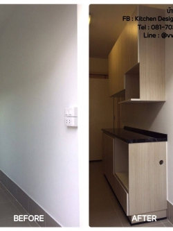 Modern Woody Kitchen (ครัวบิ้วอินทับโครงปูนหน้าบานลายไม้โมเดิร์น)