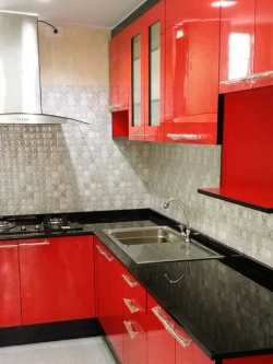 Red & Black Kitchen (ครัวบิ้วอินสีแดงสไตล์โมเดิร์น)