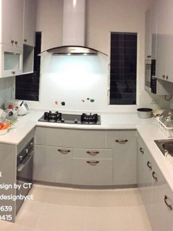 Light Grey Classic Kitchen (บิ้วทับโครงปูนหน้าบานสีเทาอ่อน)