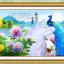 นกยูง ดอกโบตั๋น ครอสติชพิมพ์ลาย thumbnail 1