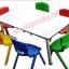 ชุดกิจกรรมเด็ก พร้อมเก้าอี้พลาสติกเกรด A อย่างหนา สำหรับ 6 ที่นั่ง
