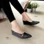 รองเท้าส้นเตารีด เปิดส้น หัวแหลม (สีดำ ) thumbnail 2