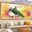 นกยูงคู่ดอกโบตั๋น ครอสติสคริสตรัล ภาพติดเพชร อุปกรณ์ DIY thumbnail 3