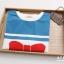 Pre-Order เสื้อยืดแขนสั้นพิมพ์ลายคอปกกะลาสีและโบว์ด้านหน้า thumbnail 3
