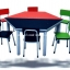 โต๊ะกิจกรรมเด็กอนุบาลหลากสี ขนาด 6 ที่นั่ง โครงขาเหล็กหน้าโฟเมก้าสี ทนทานแช็งแรง