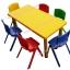 ชุดโต๊ะพลาสติกเด็กสี่เหลี่ยมผืนผ้าพร้อมเก้าอี้พลาสติก ขนาด 120*60*52 ซม.
